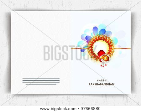 Greeting card design decorated with colorful rakhi for Indian festival of brother and sister love, Happy Raksha Bandhan celebration.