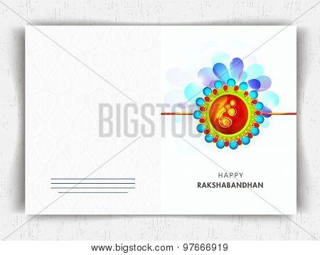 Creative colorful rakhi decorated greeting card design for Indian festival, Raksha Bandhan celebration.