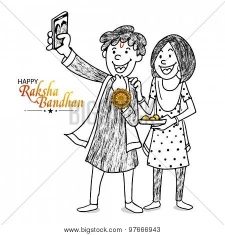 Cute happy brother taking selfie with his sister on occasion of Raksha Bandhan celebration.
