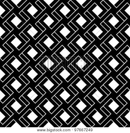 Black And White Geometric Seamless Pattern With Line And Interlace Style, Abstract Background.