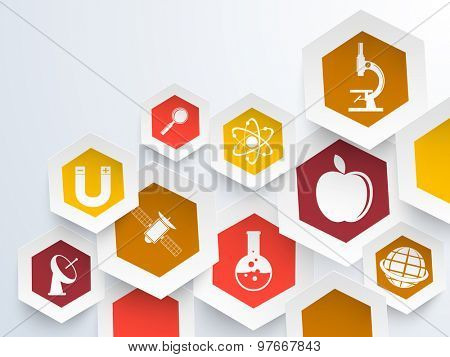 Creative colorful sticker, tag or label design with Science symbols on shiny background.