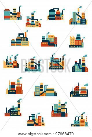 Industrial factories and plants flat icons
