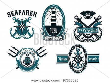 Nautical seafarer, voyager and anchors symbols