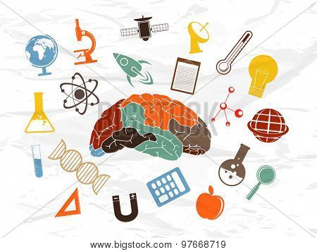 Colorful illustration of human brain with various signs and symbols of science on grungy background.