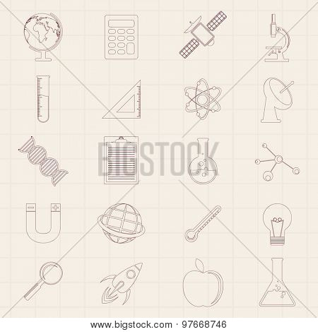 Set of various signs and symbols on graph paper background for Science concept.