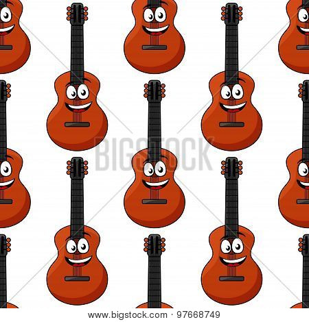 Smiling cartoon acoustic guitar seamless pattern