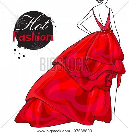 Back pose of a young slim girl in beautiful red gown for Hot Fashion collection on white background.