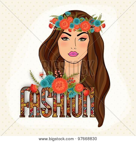 Young gorgeous beautiful girl wearing wreath with stylish colorful text Fashion on abstract background.