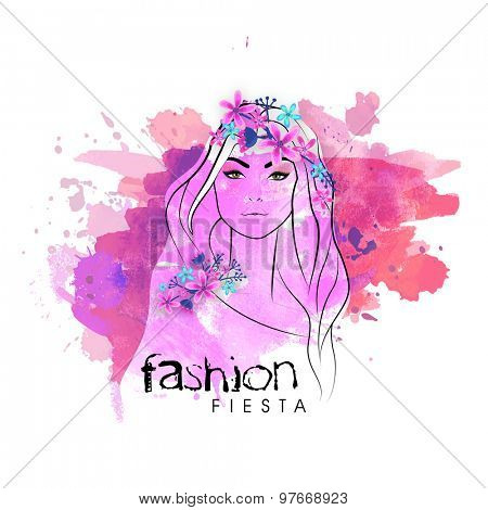 Beautiful stylish young girl decorated by colorful flowers with color splash for Fashion Fiesta.