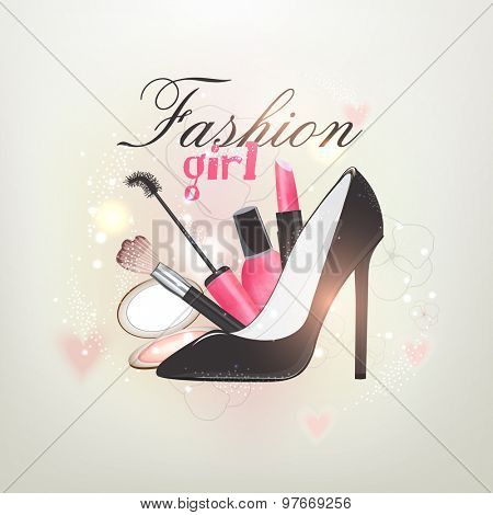 Glossy creative illustration of women's cosmetics and sandal on shiny background.