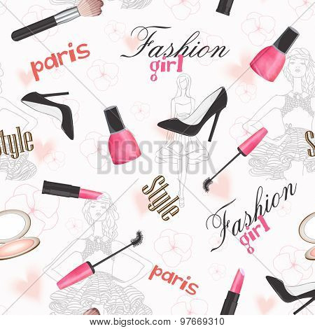 Creative stylish pattern of young girls and cosmetics.
