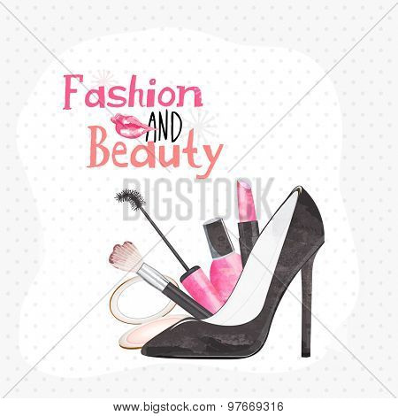 Stylish text Fashion and Beauty with illustration of women's cosmetics and sandal on abstract background.