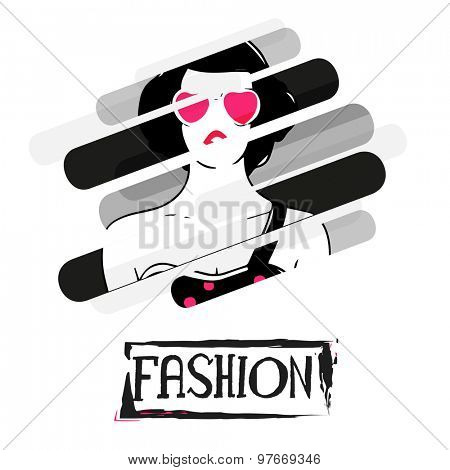 Creative stylish illustration of young fashionable girl on for Fashion.