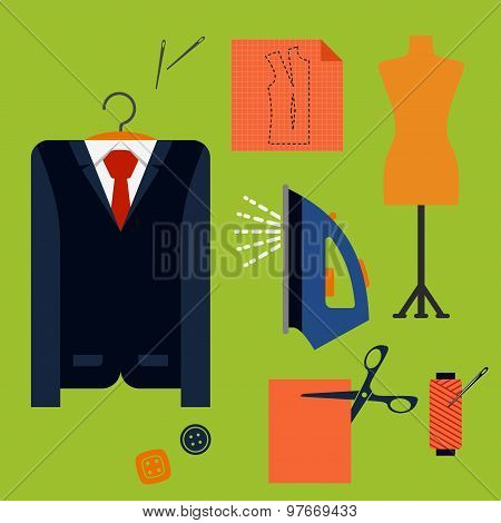 Tailor tools and accessories in flat style