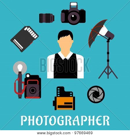Photographer with equipment and items