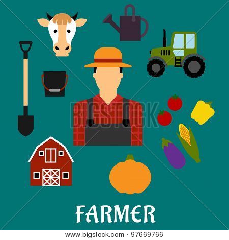 Farmer with flat agriculture icons
