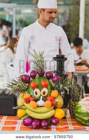 Cook With Mascot Foody At Expo 2015 In Milan, Italy
