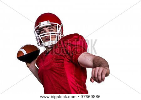 American football player throwing a ball on a white background