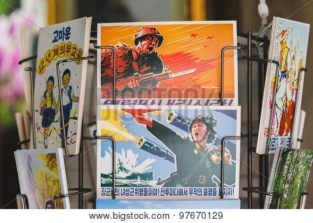 Propaganda Postcards In The Nnorth Korea Pavilion At Expo 2015 In Milan, Italy