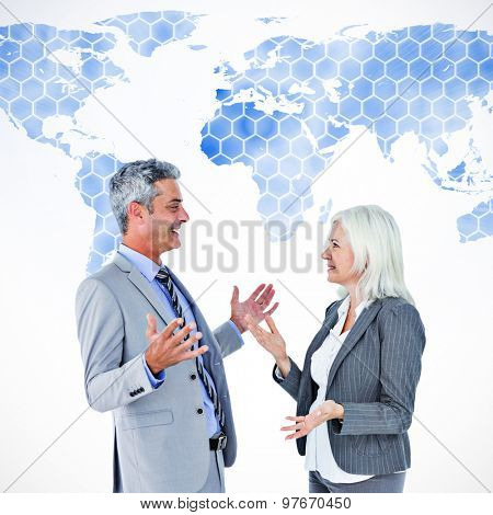 businesswoman angry against her colleague arguing against background with world map