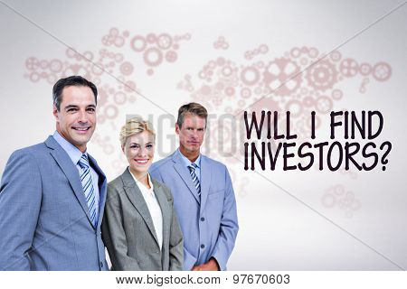 Businessman in a row with his business team against grey background