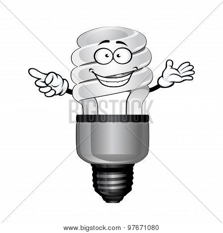 Cartoon saving light bulb character