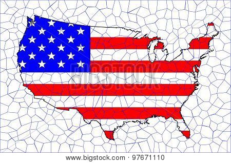Usa Flag Map Mosaic
