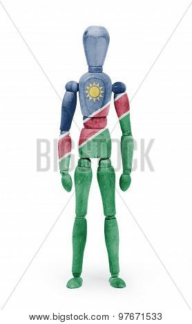 Wood Figure Mannequin With Flag Bodypaint - Namibia