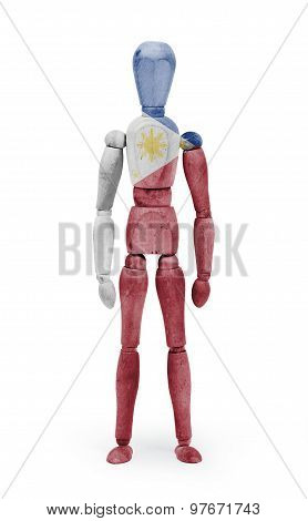 Wood Figure Mannequin With Flag Bodypaint - Philippines