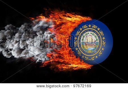 Flag With A Trail Of Fire And Smoke - New Hampshire
