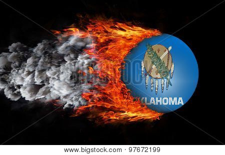 Flag With A Trail Of Fire And Smoke - Oklahoma