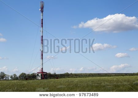 Transmitter LTE tower in sunny summer day
