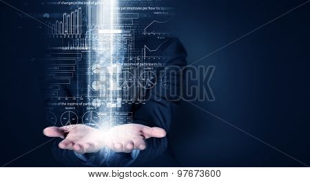 Close up of businessperson holding on palms digital business plan