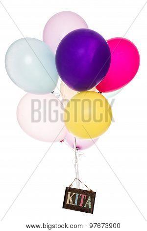 Colorful Balloons, Old Sign, Word Kita