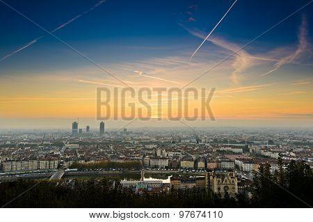 Sunrise At Lyon City, France, Europe