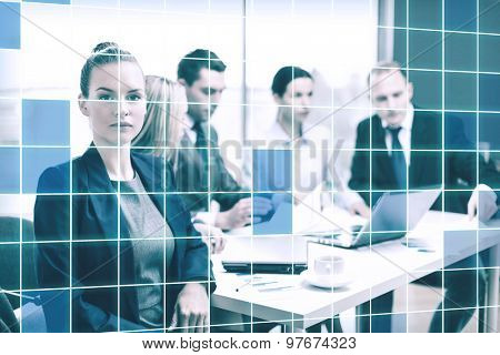 business, technology and office concept - businesswoman and business team at office  k over blue squared grid background