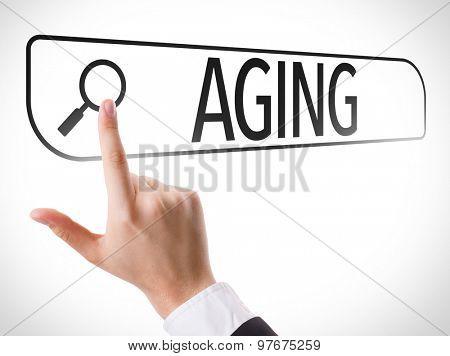 Aging written in search bar on virtual screen