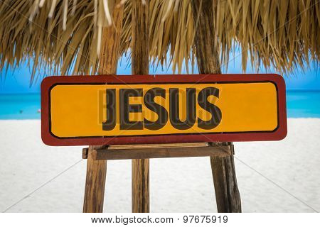 Jesus sign with beach background