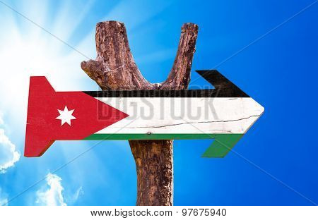 Jordan Flag wooden sign with sky background