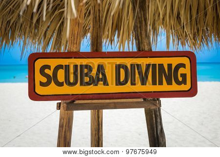 Scuba Diving sign with beach background