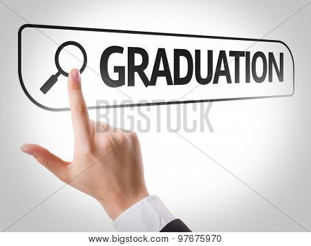 Graduation written in search bar on virtual screen