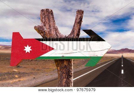 Jordan Flag wooden sign with desert road background