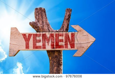 Yemen wooden sign with sky background