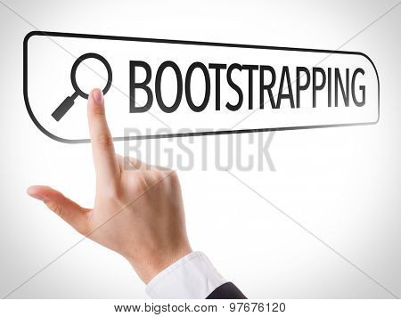 Bootstrapping written in search bar on virtual screen