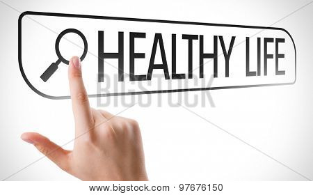 Healthy Life written in search bar on virtual screen