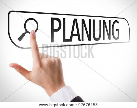 Planning (in German) written in search bar on virtual screen