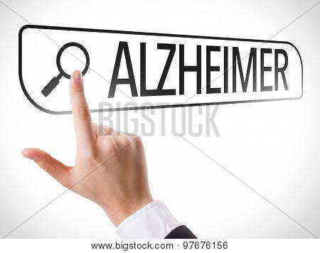 Alzheimer written in search bar on virtual screen