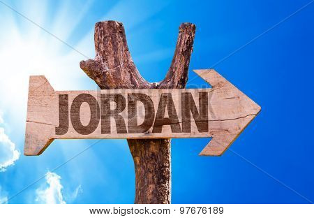 Jordan wooden sign with sky background