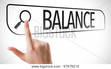 Balance written in search bar on virtual screen