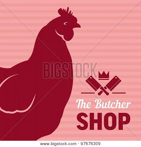 Chicken shop sign with silhouette of hen, vector background